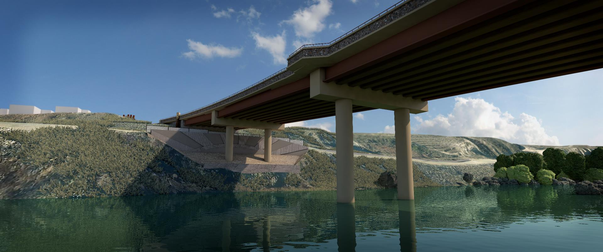 rendering of anticipated bridge deck from under the bridge