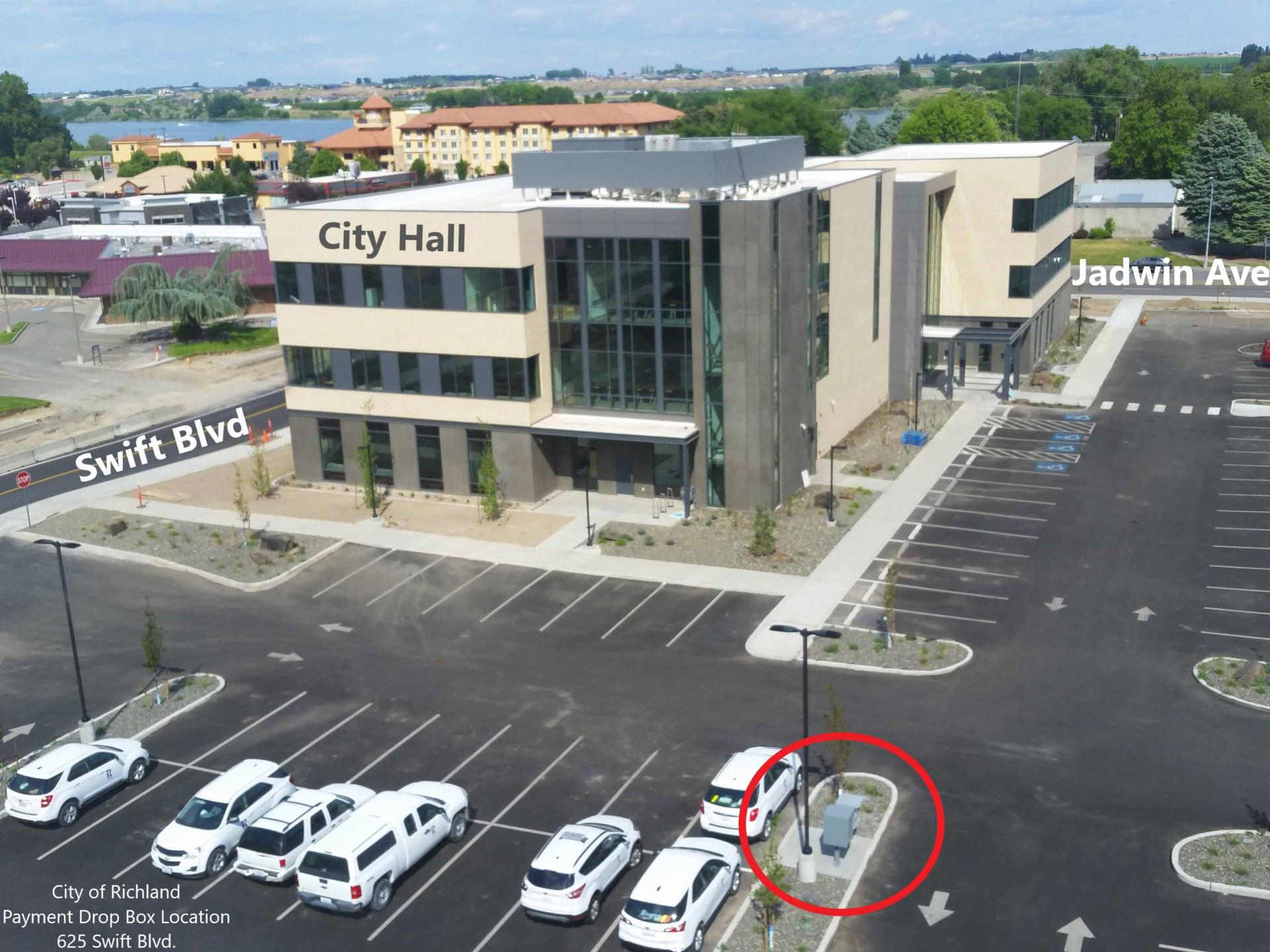 map of new City Hall with bill drop off box circled in red.