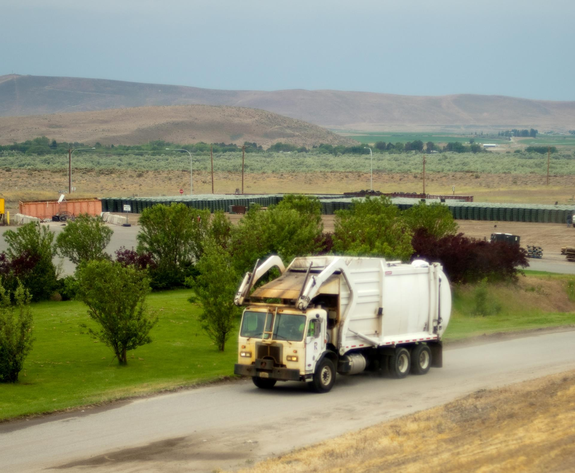 Garbage Truck at Landfill